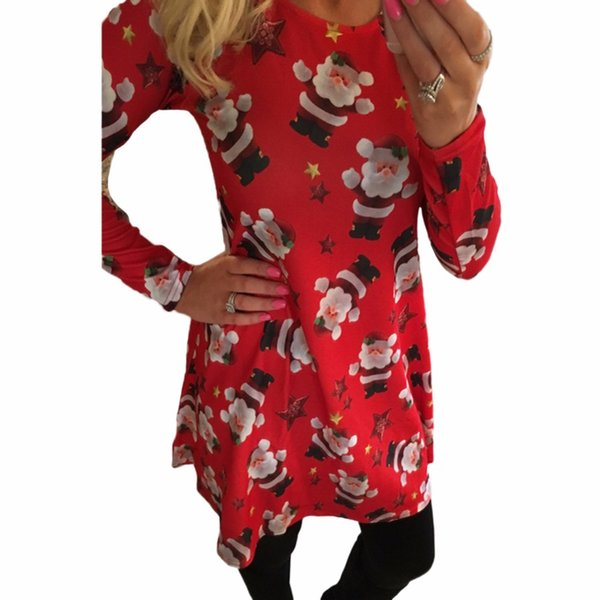 Women Christmas Printed Dress Elk Snowflake Long Sleeve 5XL Plus Size Dress Casual Autumn A-Line Club Party Dresses Red Clubwear