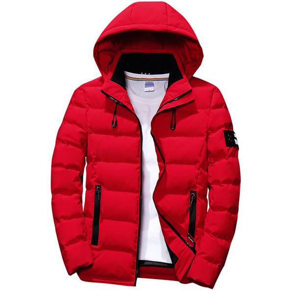 Высокое качество 2018 зимняя куртка мужчины с капюшоном ветровка и водонепроницаемый толстый теплый куртка пальто мужчины повседневная зима Красный куртка Куртка