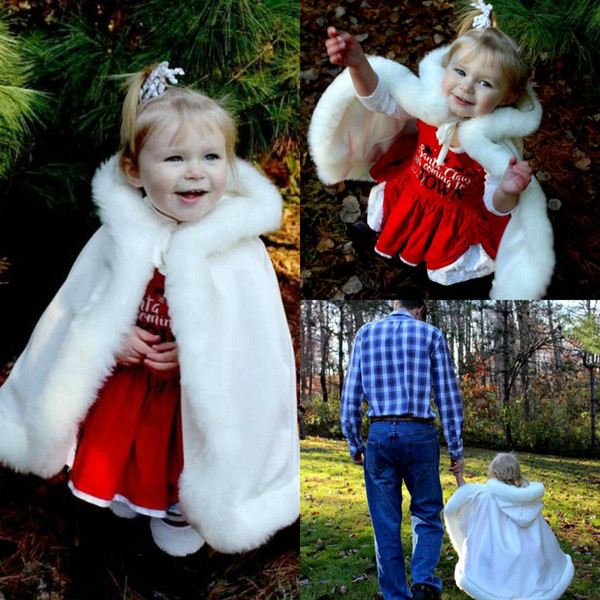 Kids Warm Bridal Wraps Faux Fur With Hats For Wedding Evening Partys Prom Jackets Coats Winter White Fur Shawl Clocks Mantles