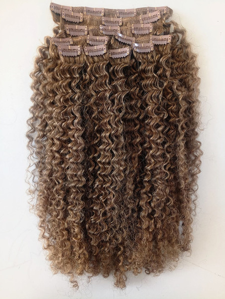 New arrival brazilian virgin light brown hair weft clip in kinky curly human remy hair exten ion 9piece one et