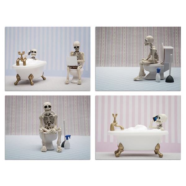 Großhandel Ungerahmt Skelett Bilder Badezimmer Drucke Lustige Hipster  Schädel Und Knochen Das Bild Drucke Auf Leinwand Wandkunst Für Badezimmer  Dekor ...