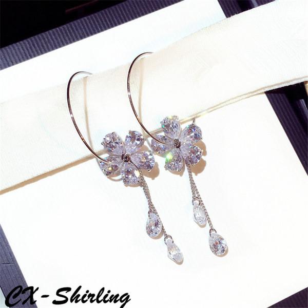 CX-Shirling Women Statement Cubic Zirconia Flower Tassel Earrings Quality Circle Double Wear Earrings