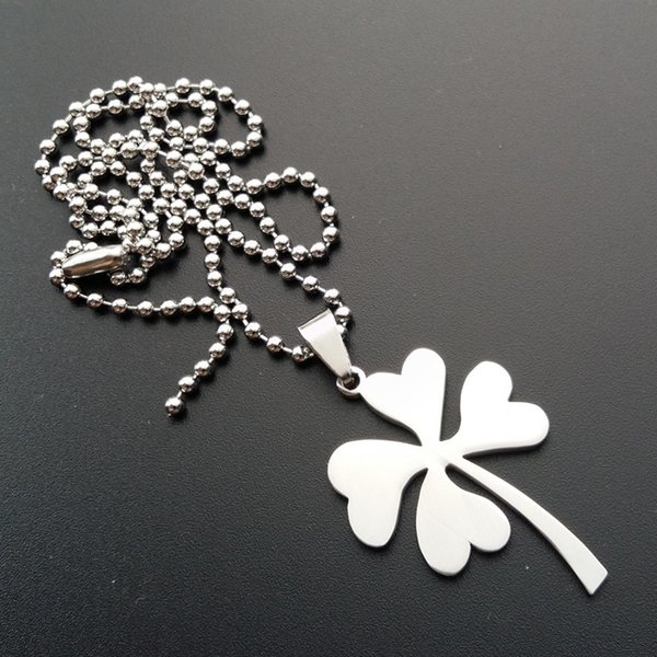 10pcs Stainless Steel Lucky Clover Charm Pendant Necklace Petal Flowers Lucky Grass Necklace Simple Plant Amulet Clover Clover Necklacel