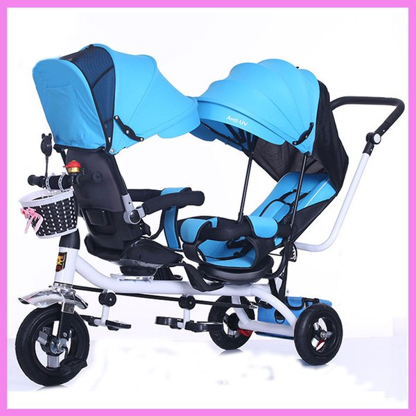 Swivel Seat Children Tricycle Twins Baby Double Stroller Child Tricycle Bicycle Three Wheels Trolley Pushchair Umbrella Stroller