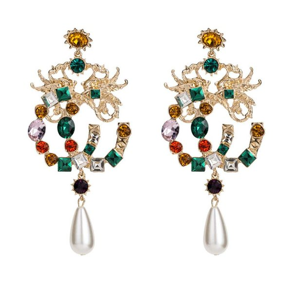 Europe and America New Fashion Trendy Women Earrings Gold Plated Rhinestone Pearl Earrings for Girls Women for Party Wedding