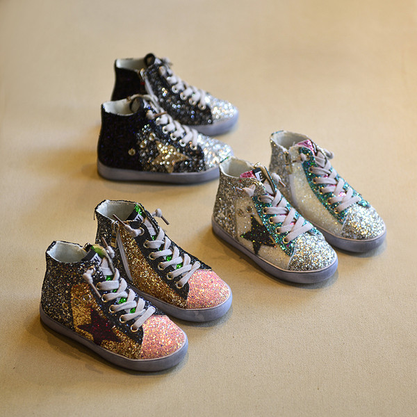 best selling 2018 Children Boy Brand Glitter High Top Sneaker Baby Girl Fashion Trainer Toddler Pu Leather Sequins Shoe