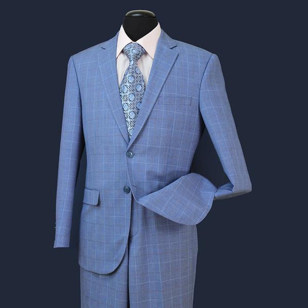 2018 EN STOCK EE. UU. 3 UNIDS Novios Hombres Trajes Formales Para Bodas Slim Plaid Los Mejores Trajes Para Hombre (Chaqueta + Chaleco + Pantalones) ST005