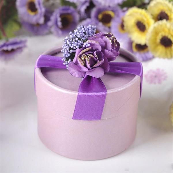 Cilindro Cajas de Dulces de Moda Simulación Exquisita Flores Artificiales Falsas Lavanda Caja de Regalo Favores de La Boda Regalos de Fiesta