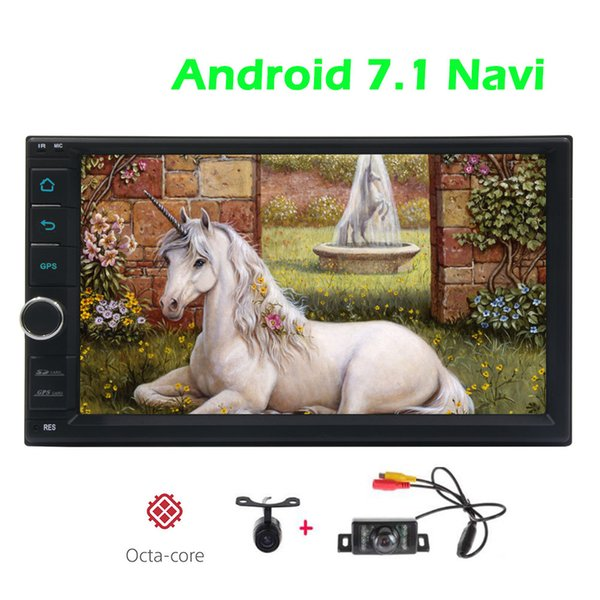 Front&Backup Camera Double din GPS Car Stereo Android 7.1 System Autoradio Bluetooth Car GPS Navigation USB/SD/FM/AM/RDS Radio Receiver