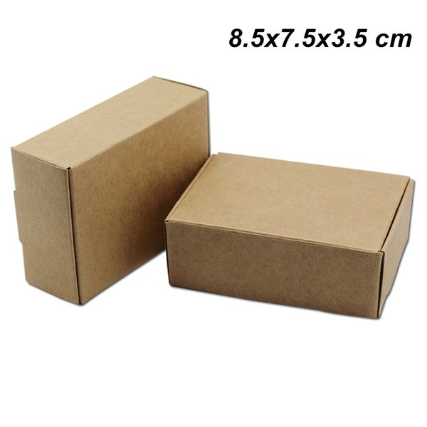8.5x7.5x3.5 cm 20 Pcs Lot Brown Kraft Paper Cookie Storage Boxes Craft Paper Gifts Crafts Arts Packaging Boxes for Jewelry DIY Handmade Soap