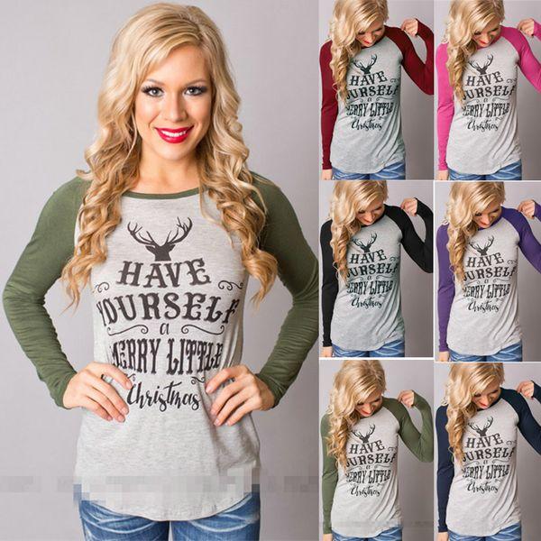Christmas elk portrait letter printing womens funny tshirt long-sleeved designer t shirts fashion plus size women clothing luxury t shirt