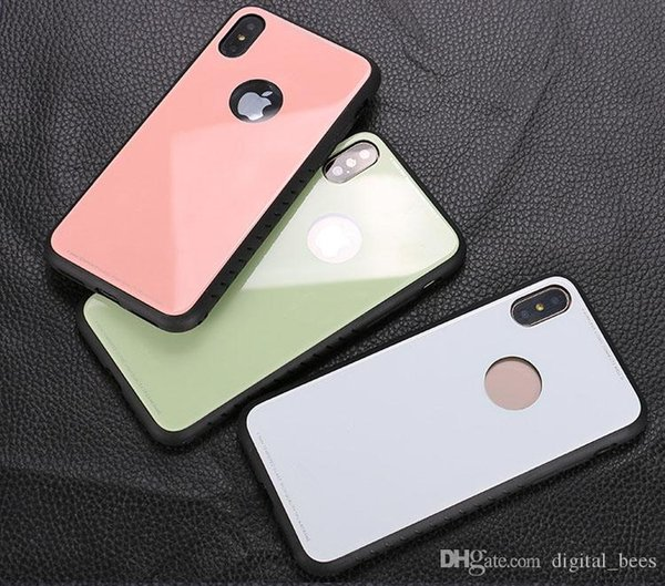 New Hot Selling TPU luxury Glass Back Phone Cover case For Iphone X Phone Case Mobile Cellphone Case For Iphone 8