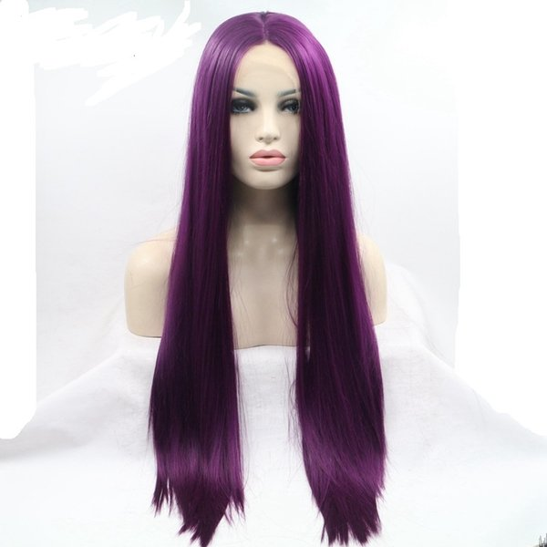 Eversilky Purple Color Synthetic Lace Front Wig For Women Long Straight Heat Resistant Fiber Hair Wigs With Baby Hair