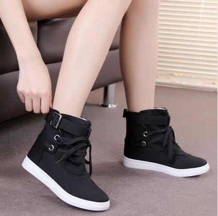 35-41 Black Gray Round Toe Platform High-top Canvas Buckle Shoes Woman Lace Up boots Student Flat Ankle Boots Botas Mujer k573