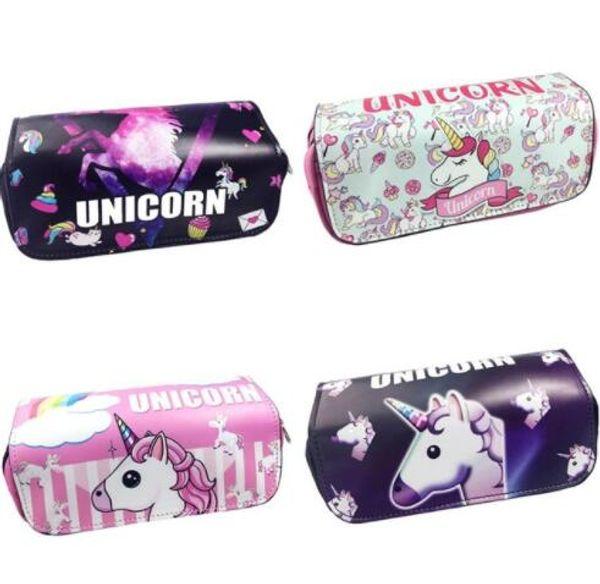 4 design Unicorn Zipper School Pencil Case for Girls Boys PU Leather Pen Bag Stationery Pouch School Supplies KKA5802