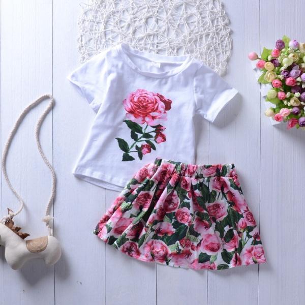 New Children's 2 Pieces Clothing Summer Girls Short Sleeve Rose Flower Shirt Tops Short Skirt Set Kids Clothes Suit KA786