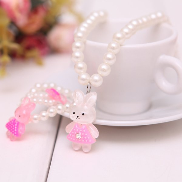 best selling LOVELY RABBIT Baby Kids Children Girl Jewelry Sets Pendant Necklace bracelet Set