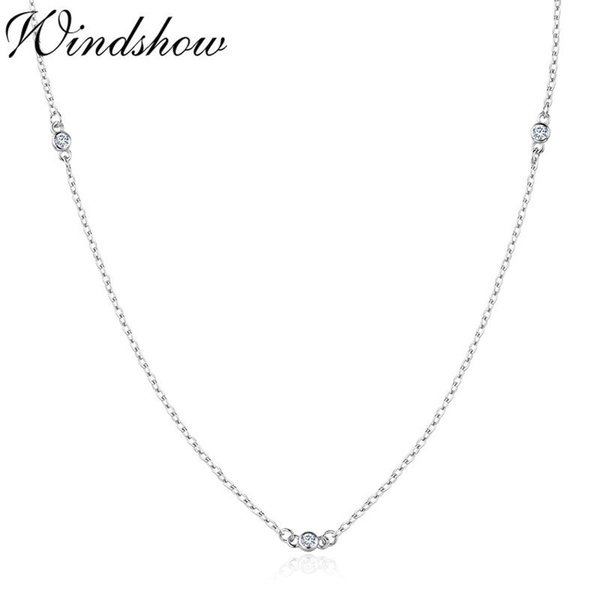 Slim Cute 925 Sterling Silver Round CZ Stones Beaded Chain Short Choker Necklace For Women Girls Jewelry Kolye Collares Collier