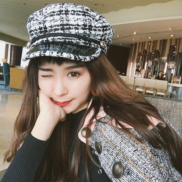 [Lakysilk] Nueva llegada de algodón de invierno Beret Hat Mujeres Grils Sombrero de cuero ocasional Gorras Mujer Moda a cuadros gorras de béisbol