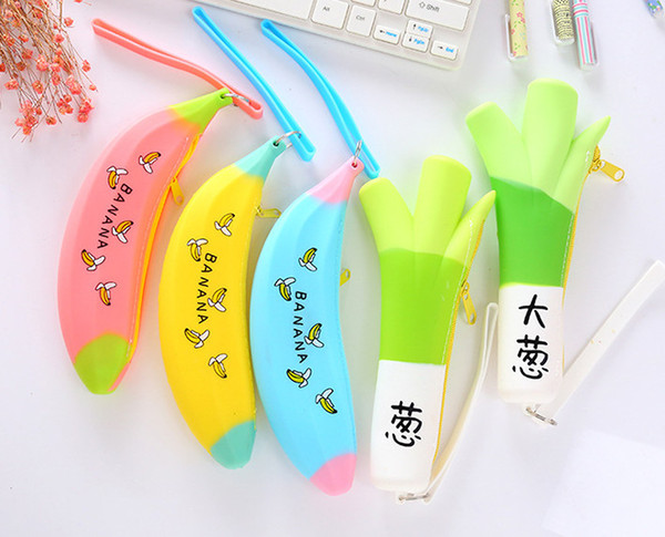 wholesale free shipping pencil bag 10pcs\lot Creative banana shallot pen bag super sprout eating large money bags014
