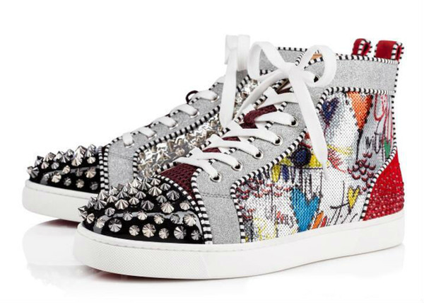 2018 New Season Red Bottom Sneakers Uomo Scarpe Luxury Print Silver Pik Pik No Limit RARE borchie e strass graffiti
