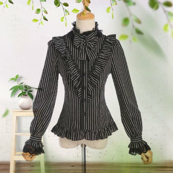 Vintage Gothic Style Black & White Striped Women Shirt Blouse Sweet Petal Sleeve Bow Lolita Princess Shirts Lady Tops Female