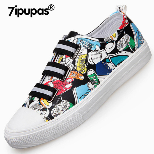 7ipupas Street style DX8226 graffiti casual shoes men elastic lazy shoes hand-painted male sneakers canvas leisure man flat shoe