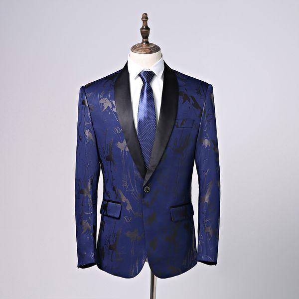 Elegant Dark Blue Men Suits Shawl Collar Slim Fit Suits One Button 2 Pieces Suits(Jacket+Pants) for Wedding Tuxedos