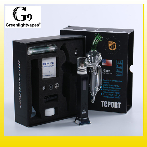 Authentic Greenlightvapes G9 TC Port Starter kit 18650 3000mAh Battery Dab Wax Enail Glass Vape Pen Kits 100% Original