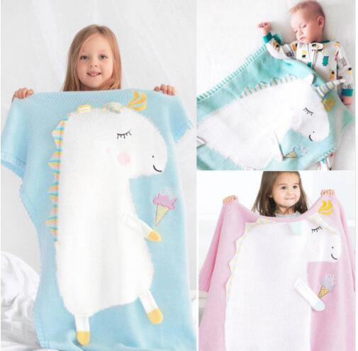 Kinder Nette Einhorn Strickdecke Bettwäsche Quilt Spieldecke Klimaanlage Decke Jungen Mädchen Stricken Decken Quilt 105 * 75 CM KKA5585