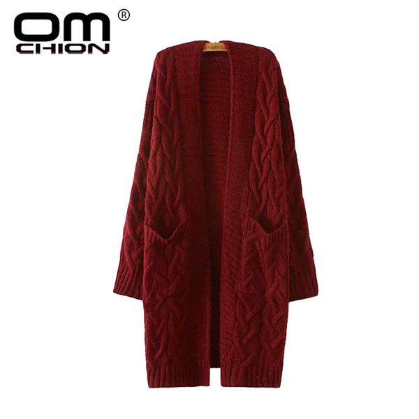 OMCHION Winter 2018 Autumn New V Neck Long Cardigan Twist Casual Loose Sweater Women Oversized Poncho Knitted Wear Jumper LS28 L18100801