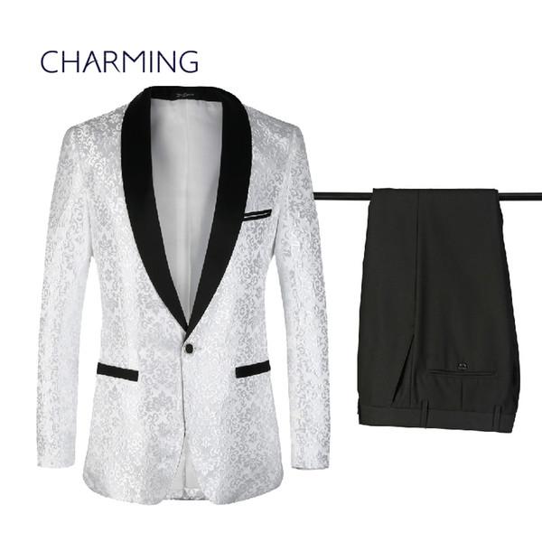 Ternos para homens branco Jacquard geométrica padrão de design dos homens vestido de casamento Mens ternos grandes tamanhos ternos para homens casamentos