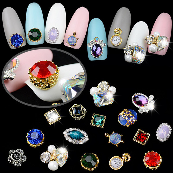 5 Different Retro Crystal Diamonds Pearl Mounted Golden Studs Clock Turtle Gem Stones Nail Art Decorations 3d Manicure DIY New