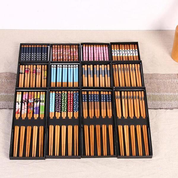 Style japonais ménage breeze baguettes en bambou exquis boîte de cadeau portable vaisselle costume faveur faveur livraison gratuite QW7540