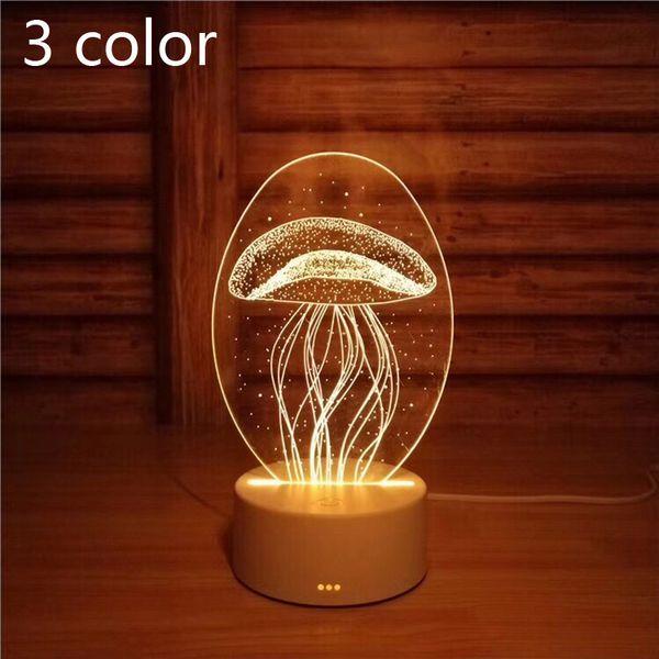 3D Table Night Light Acrylic Illusion Lamp 3 Colors Change LED - Little Bear Love Heart For Girls Bedroom Christmas Gift.