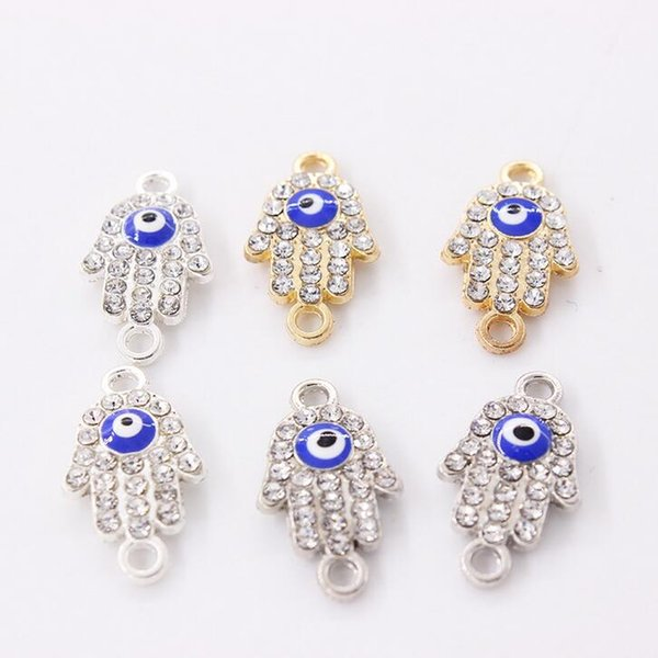 Metal Silver and Gold Plated Fatima Hamsa Hand Evil Blue Eye Connectors fit Jewelry Making Findings Accessories DIY Bracelet