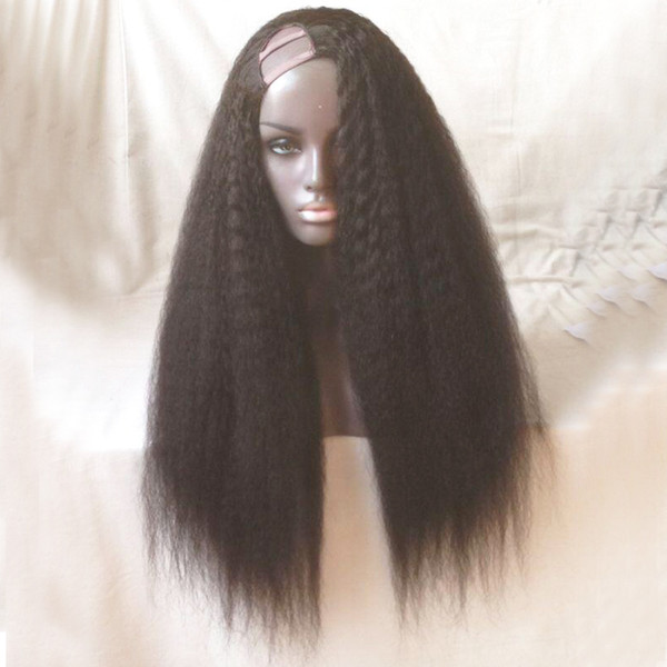 Kinky Straight U Part Human Hair Wigs For Black Women Unprocessed Indian Virgin Hair Natural Color Dyeable Middle Left Right U Part 2*4