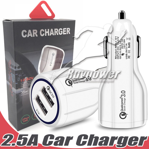 High qualitycar carregador 2.5a para iphone7 8 8 plus iphone x para samsung s9 plus note8 carregador de carro adaptador usb mini dual carregador de carro