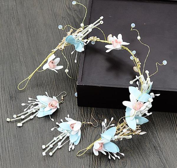 Bridal handmade accessories, ladies' garlands, flowers, fairies, hair bands, wedding accessories, Bohemia headwear earrings.