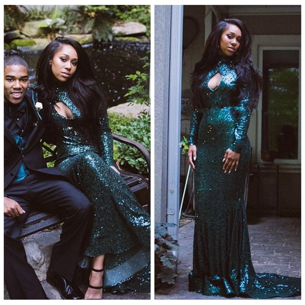 Cheap Emerad Green Sequined Mermaid African Prom Dresses High Neck Long Sleeves Evening Party Gowns Vestidos De Fiesta