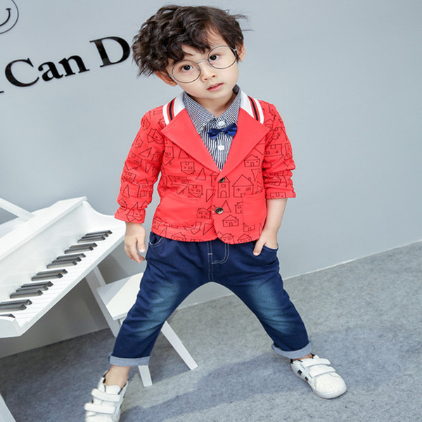 AiLe Rabbit Autumn New Baby Boys Clothing Sets Boys Fashion Clothing Set Autumn New Cartoon Jacket Shirt Jeans Gentleman 3 Piece Set