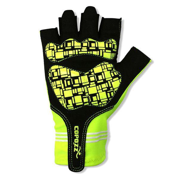 Top Sale Laufhandschuhe 1 Paar GLV-1055 Outdoor Half-Finger stoßfest ventilative Fahrradhandschuhe (grün M L XL)