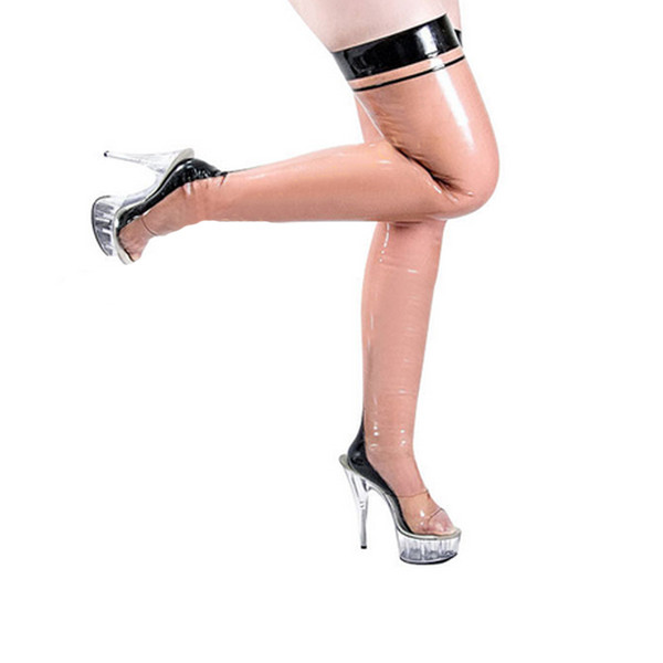 New Hot handmade women female transparent with black trim Latex slim lean Long Stockings Tight Socks Fetish