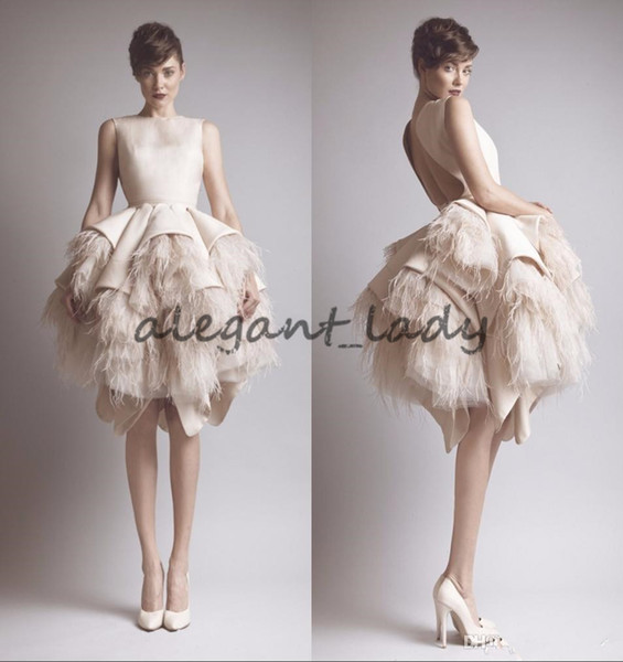Ashi Studio Crew Neck Keyhole Back Tiers Satin Short A-Line Evening Dresses Wit Ostrich Feather Prom Celebrity Gowns krikor jabotian