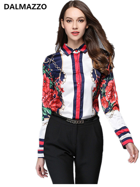 Mulheres Trabalham Blusa 2018 Designer Nova Primavera Outono de Manga Longa Turn-Down Collar Impressão Escritório Casual Runway Camisas Feminina XL XXL