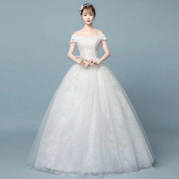 Compre Factory Outlet Mujeres Coreanas Vestido De Novia De Encaje Una Línea Bateau Emboridery Flor Más Tamaño Jardín Boda Vestido De Bola Vestidos