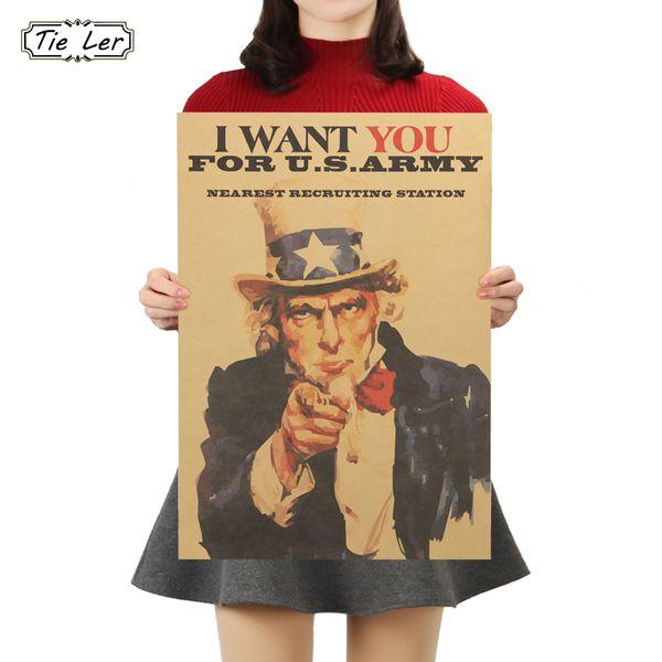 TIE LER Vintage Poster Uncle Sam World War II Recruit Kraft Paper Poster Wall Sticker Decor 51X36cm