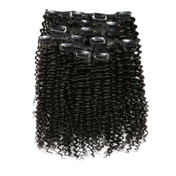 7Pcs / Set 120G Afro Kinky Bouclés Clip Dans Extensions de Cheveux Humains Remy Perou Clip de Cheveux Sur 100% Humains Cheveux Naturels Clip Ins Bundle