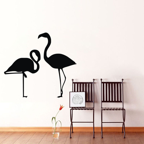 Two Birds Wall Decals Vinyl Adhesive Red-Crowned Cranes Wall Stickers Animals Home Decorations