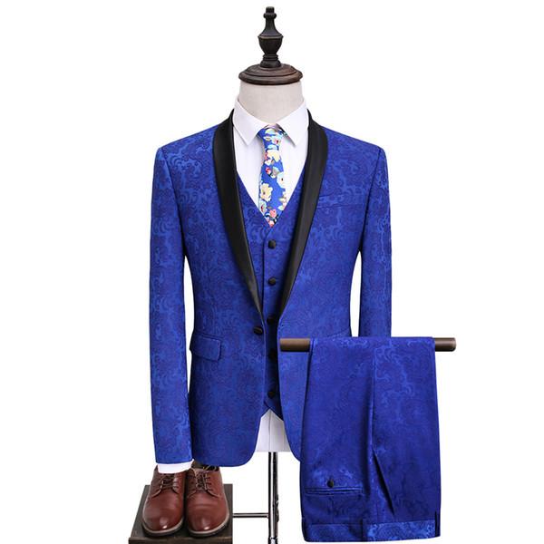 Erkek Kraliyet Mavi Takım Elbise Slim Fit Jakarlı Takım Erkekler Için 2018 Son Düğün Takımları Damat 5XL Parti Sahne Balo Giymek Q361